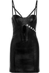 Versus Cutout Studded Leather Mini Dress
