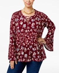 Eyeshadow Trendy Plus Size Printed Peasant Top Burgundy Passion