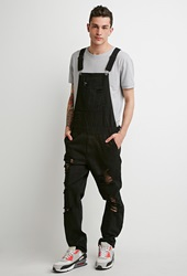 Forever 21 Distressed Denim Overalls Black
