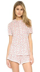 Cosabella Paul And Joe Claire Printed Short Sleeve Pj Top Vintage Blossom Off White