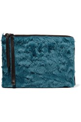 Maison Martin Margiela Mm6 Leather Trimmed Faux Fur Clutch Petrol