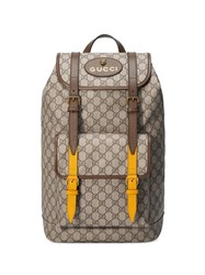Gucci Soft Gg Supreme Backpack Leather Nylon Brass Canvas Nude Neutrals