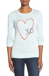 Petite Women's Halogen Embroidered Crewneck Sweater Blue Raindrop Xo Pattern
