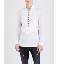Balmain Lace Up Cotton Shirt White