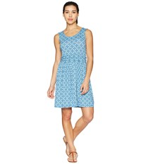 White Sierra Tangier Odor Free Printed Dress Aqua Blue
