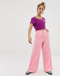 Lazy Oaf Wide Leg Jeans With Floral Embroidery Pink