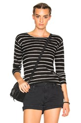 R 13 R13 Long Sleeve Knit Cashmere Tee In Black Stripes Black Stripes