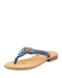 Ivanka Trump Palla Jeweled Leather Thong Sandal Blue