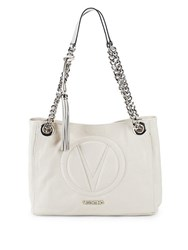 Valentino By Mario Valentino Logo Embroidered Leather Tote Milk