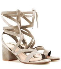 Gianvito Rossi Janis Low Suede Sandals Beige