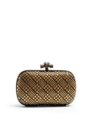 Bottega Veneta Knot Studded Snakeskin Clutch Black Gold
