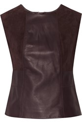 Belstaff Carlow Suede Paneled Leather Top Red
