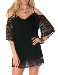 Becca Swim Poetic Crochet Tunic Black