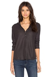 Velvet By Graham And Spencer Viktoria Rayon Rib Hooded Long Sleeve Tee Charcoal