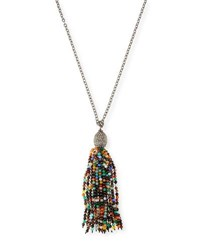 Margo Morrison Mixed Bead Tassel Pendant Necklace