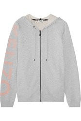 Kenzo Printed French Cotton Terry Hooded Top Light Gray