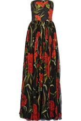 Dolce And Gabbana Printed Floral Brocade Chiffon Gown Black