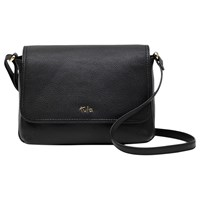 Tula Nappa Originals Leather Small Flap Over Across Body Bag Pebble Black