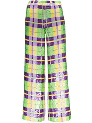 Ashish Check Sequin Embellished Trousers Multicolour