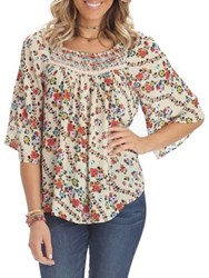 Democracy Smocked Floral Bell Sleeve Blouse Tan