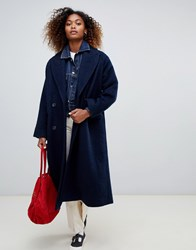 Weekday Double Breasted Car Coat In Navy Dark Navy