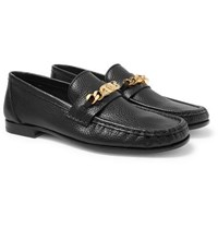Versace Antares Chain Trimmed Textured Leather Loafers Black