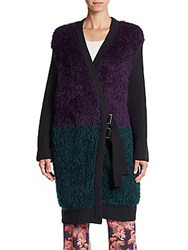 M Missoni Faux Fur Colorblock Wool Blend Coat Purple Multi