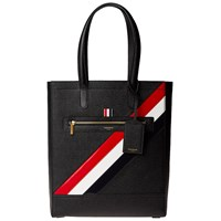 Thom Browne Diagonal Stripe Leather Tote Bag Black