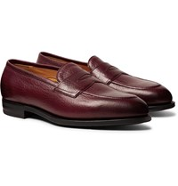 Edward Green Piccadilly Leather Penny Loafers Burgundy