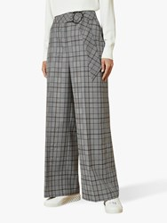Ted Baker Marrni Wide Leg Check Trousers Light Grey
