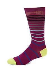 Saks Fifth Avenue Striped Mid Calf Socks Red