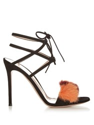 Gianvito Rossi Zelda Fur Trimmed Suede Sandals Black Multi