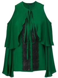 Elie Saab Cold Shoulder Lace Insert Blouse Silk Cotton Nylon Polyester Green