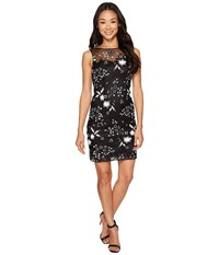 Tahari By Arthur S. Levine Petite Sequin Sheath Dress Black White Women's Dress