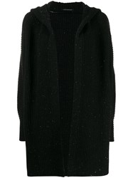 Luisa Cerano Hooded Wool Cardigan Black