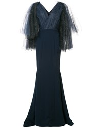 Christian Siriano Embellished Tulle Sleeve Gown Black