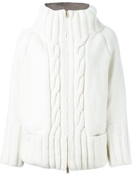 Herno Cable Knit Padded Jacket White