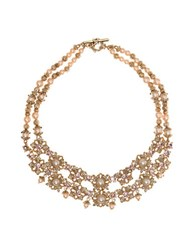 Marchesa Two Tier Floral Necklace Gold