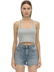 3X1 Ribbed Cotton Jersey Crop Top Grey