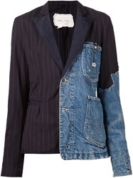 Greg Lauren Patchwork Distressed Denim Blazer Blue