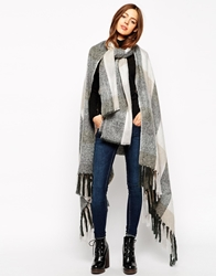 Asos Cape With Scarf In Oversized Check Multi