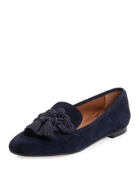 Aquazzura Legend Suede Tassel Loafer Gray