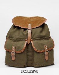 Reclaimed Vintage Leather Trim Backpack With Cord Olive
