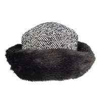 Dents Women S Tweed Hat With Faux Fur Brim Black
