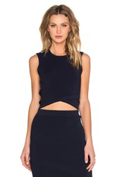 Autumn Cashmere Criss Cross Crop Top Navy