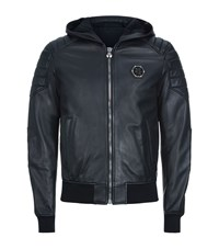 Philipp Plein Hooded Leather Bomber Jacket Male Black