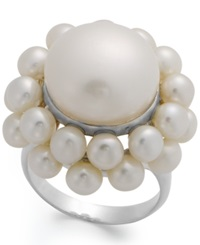 Macy's Cultured Freshwater Pearl Cluster Ring In Sterling Silver 4 1 2 And 14Mm