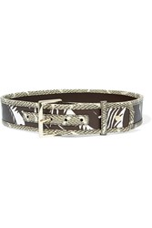 Tory Burch Snake Effect And Textured Leather Belt Brown