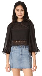Mcq By Alexander Mcqueen Volume Sleeve Lace Top Black