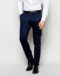 Vito Casual Cotton Suit Trousers In Skinny Fit Navy